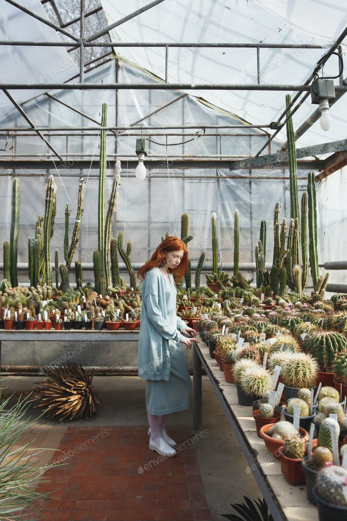 Young girl standing in a glass house full of cacti