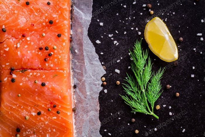 Fresh salmon fillet with dill and lemon