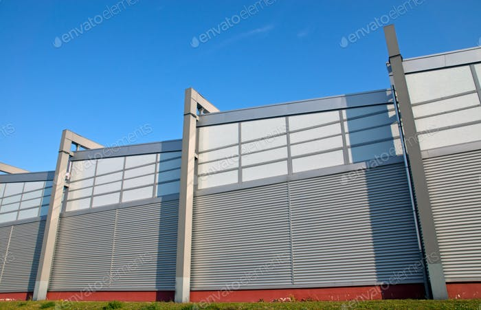 Modern facade of an industrial building