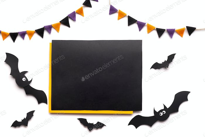 Chalkboard with copy space for text and Halloween decorations