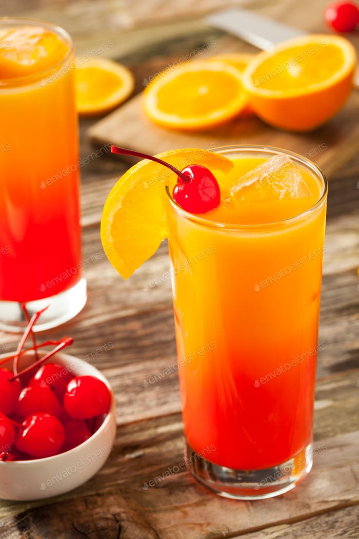 Juicy Orange and Red Tequila Sunrise