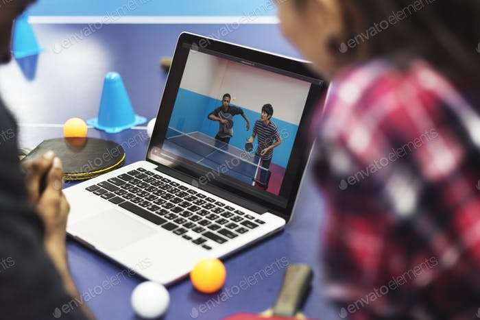 Activity Friends Playing Tabletennis Concept
