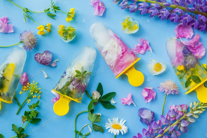 Floral Ice Pops. Frozen popsicles and ice cubes