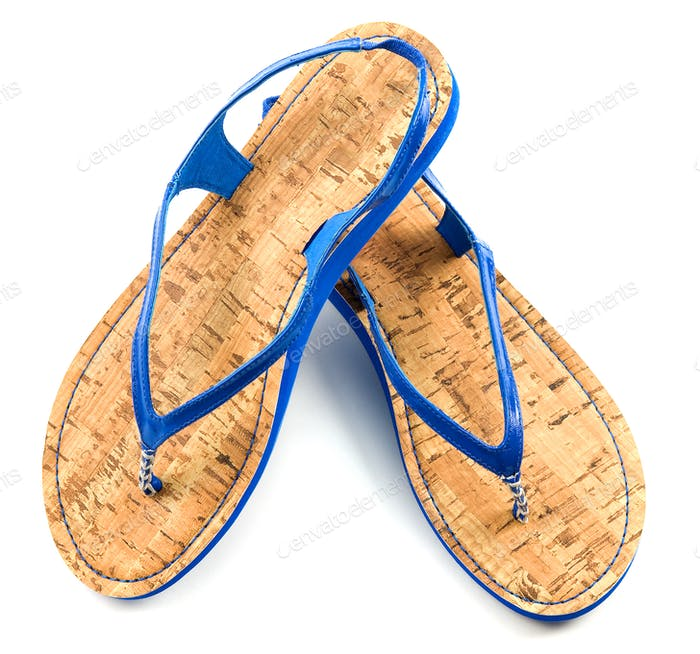 Cork soled blue flip flop sandals