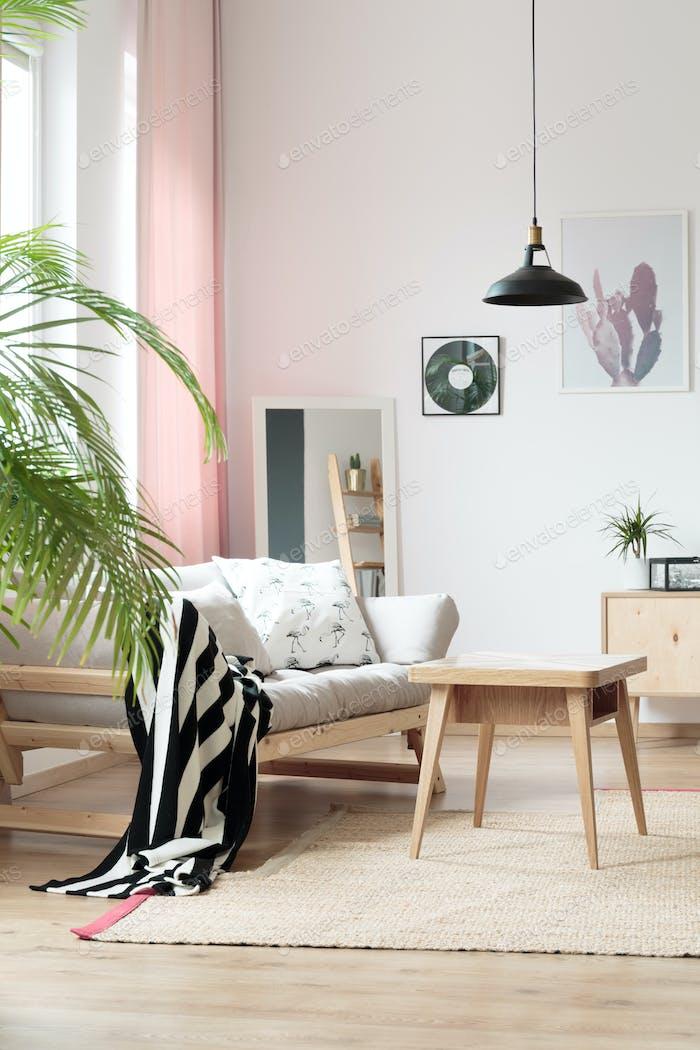 Wooden table in cozy room