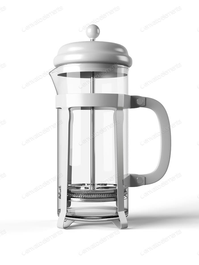 French press isolated on a white background 3D rendering