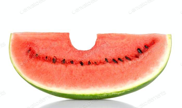Bitten into a sweet watermelon slice, front view, over white