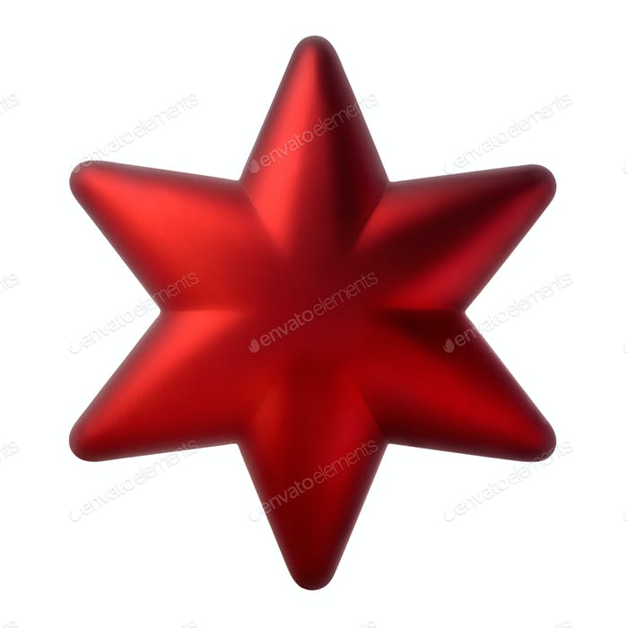 Red six-pointed star, Christmas tree decoration