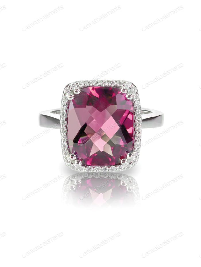 Pink tourmaline cushion cut halo engagement wedding bridal ring