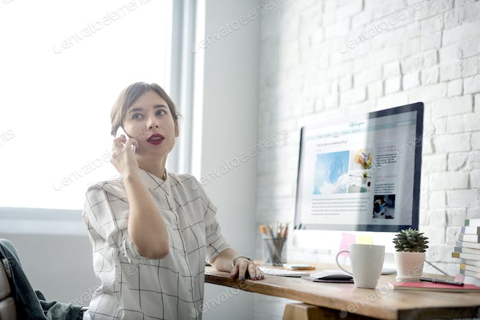 Woman Mobile Phone Happiness Communication Workspace Concept