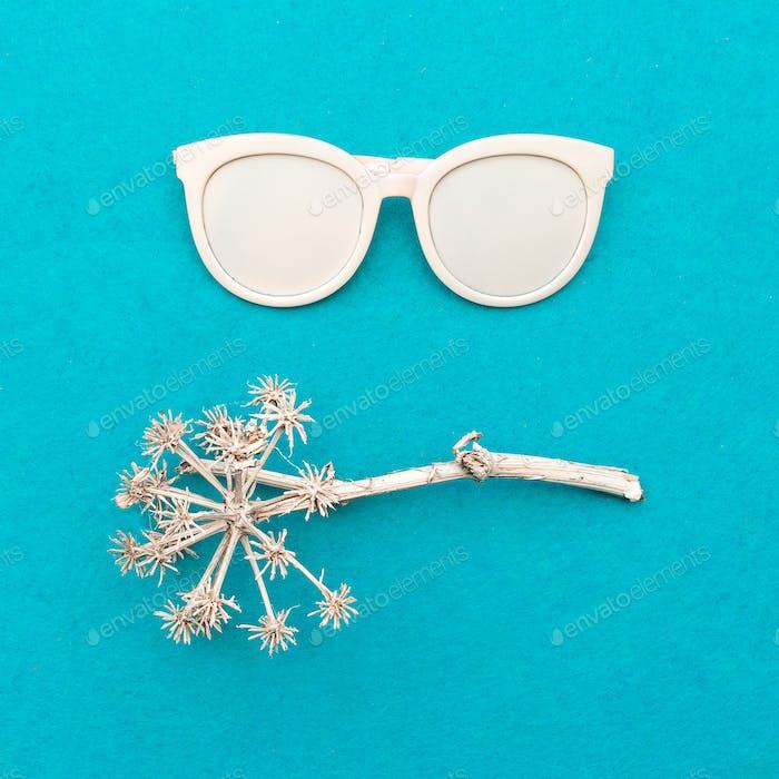 Stylish accessory sunglasses. Art design fashion minimal