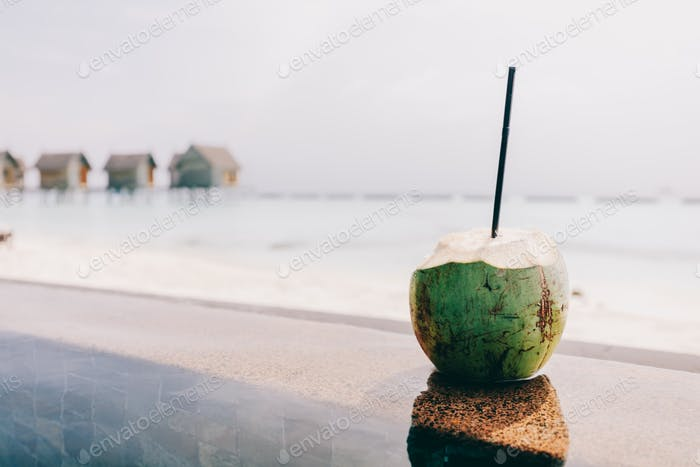 Coconut with a straw standing. Ocean view