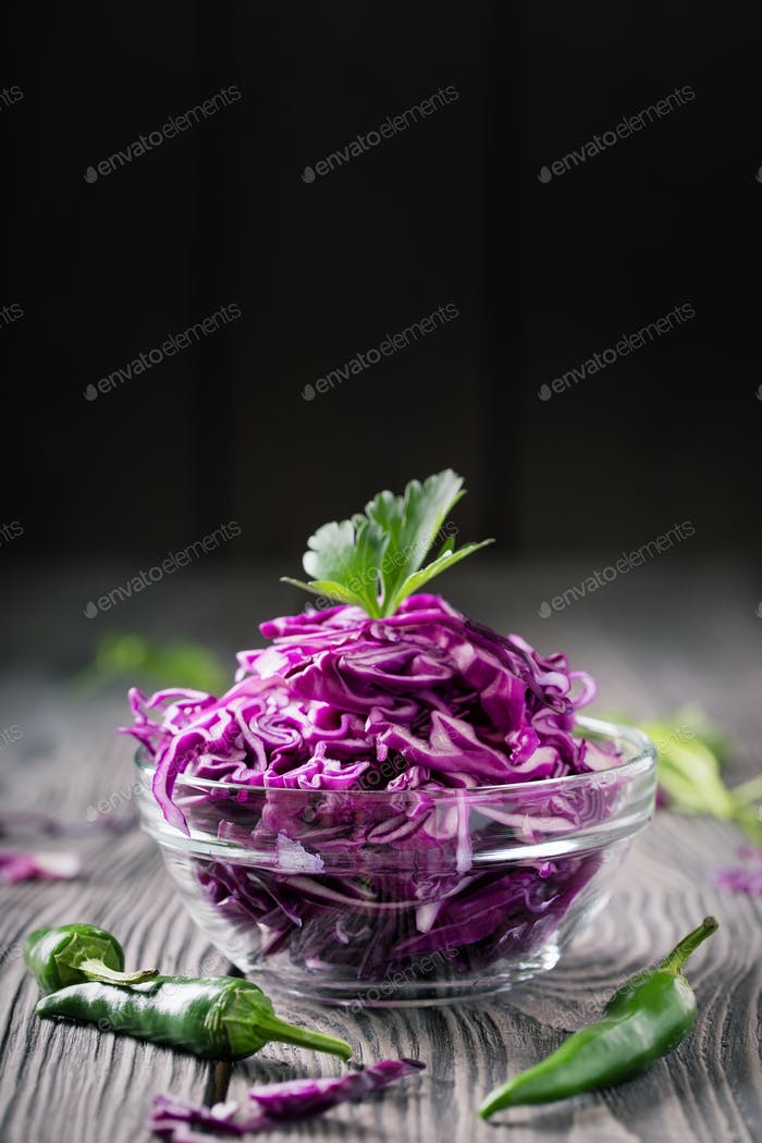 Salad from chopped red cabbage