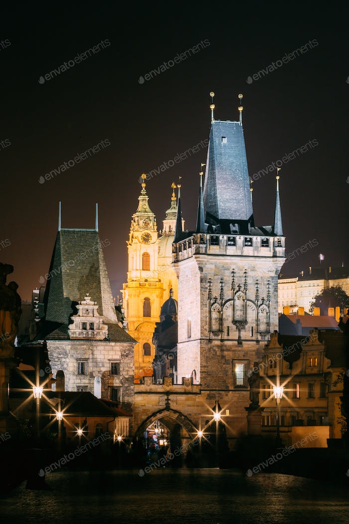 Twilight View Of Charles Bridge in Prague, Czech Republic
