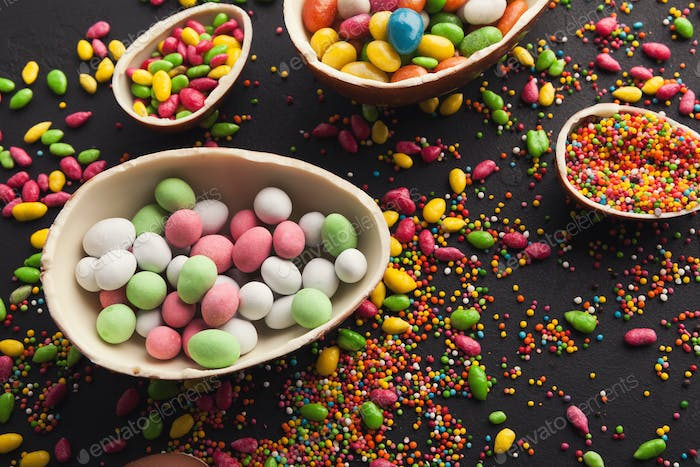 Chocolate eggs filled with sweets