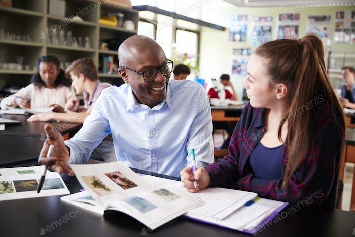 High School Tutor Sitting At Desk With Female Student In Biology Class