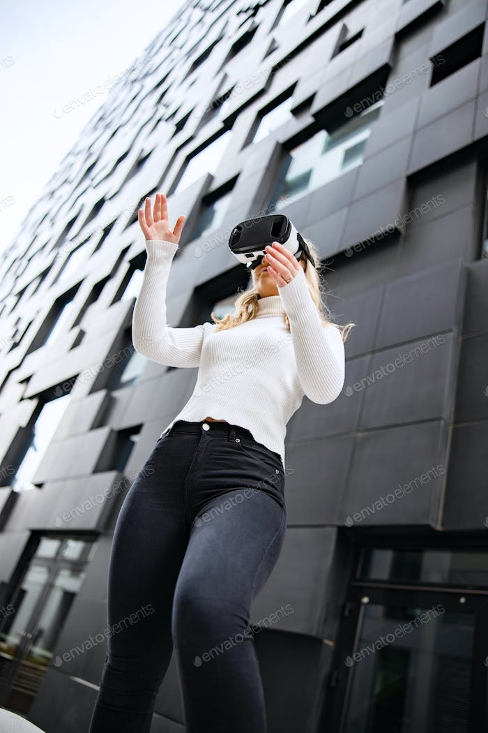 Woman Wearing Virtual Reality Glasses With Mordern City Background