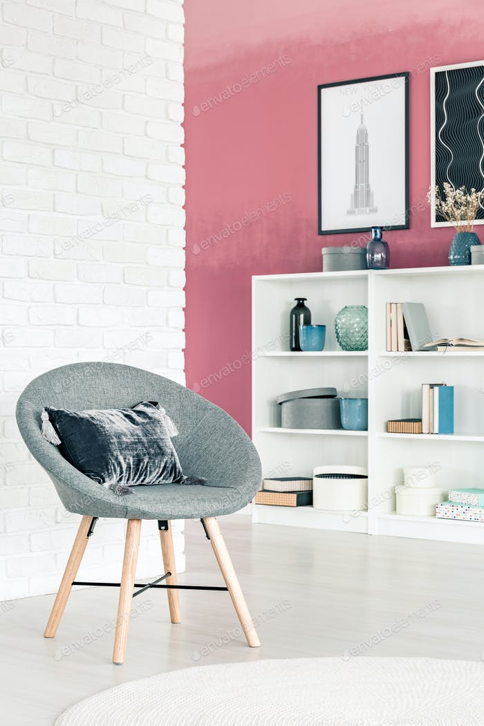 Grey armchair in living room