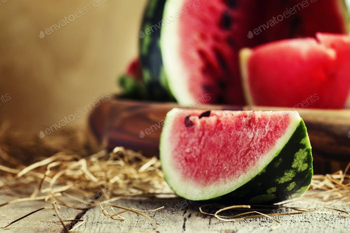 Chunks of of watermelon, rustic style,