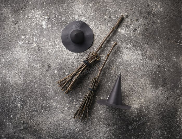 Halloween background with witches broom