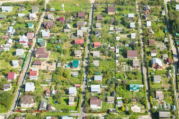 above view of country houses in suburb village
