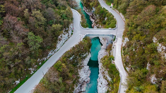 Napoleon Bridge Over Emerald Soca River in Slovenia. Top Down Ae