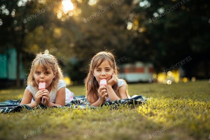 Enjoying ice cream