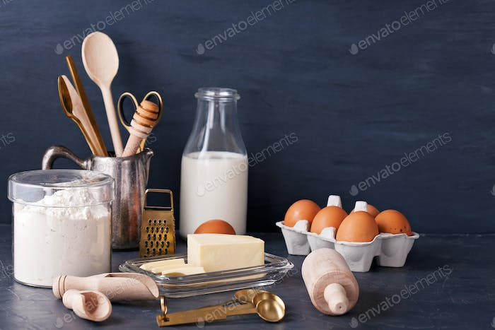 Baking ingredients and kitchen utensil for cooking and baking