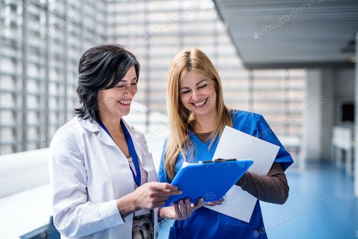 Women doctors standing in corridor on medical conference, talking