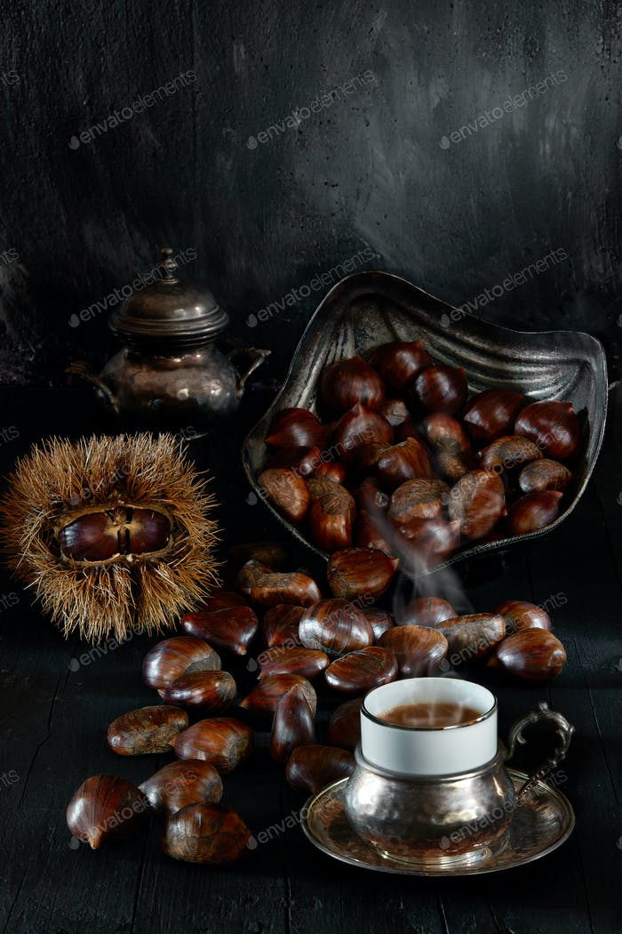 Still Life With Coffee And Chestnuts