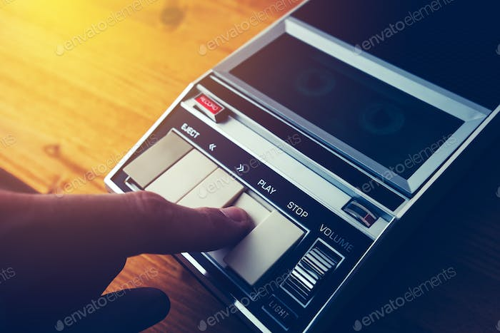 Playing audio cassette in vintage player