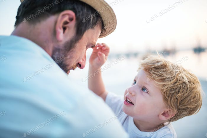 A father holding a toddler boy on beach on summer holiday.