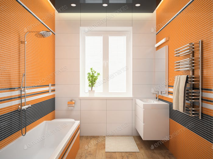 Interior of the modern design  bedroom with orange wall 3D rende