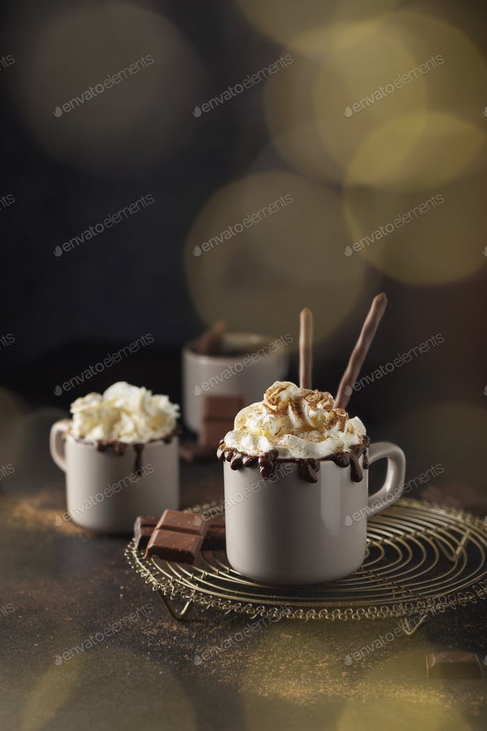 A cap of hot chocolate with whipped cream