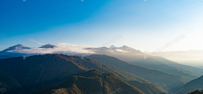 Caucasus mountains. landscape with a blue sky in the mountains.