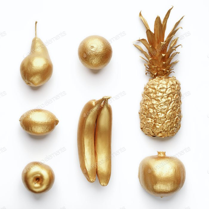 Golden fruits collage