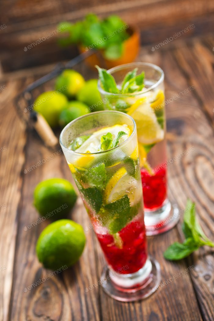 fresh drink and limes