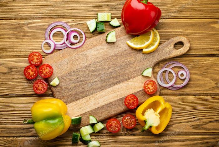 Zutaten für frisches gesundes Gemüse