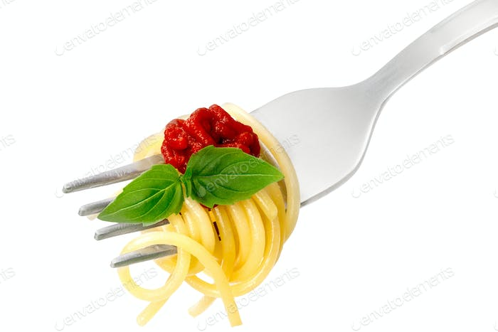 Spaghetti with sauce on a fork