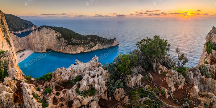 Navagio bay and Ship Wreck beach in summer. Zakynthos, Greece in the Ionian Sea