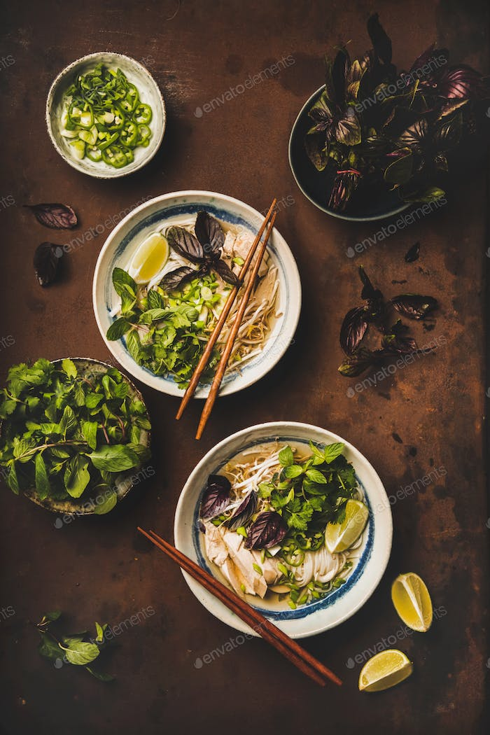 Flat-lay of Vietnamese lunch with chicken soup Pho Ga