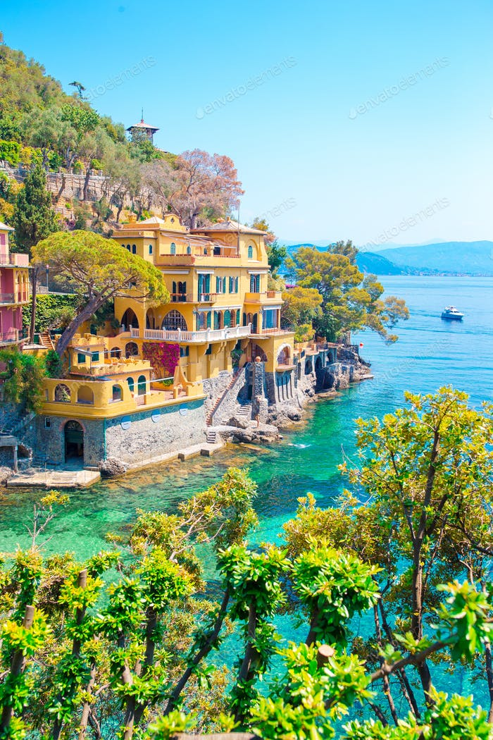 Beautiful sea coast with colorful houses in Portofino, Liguria, Italy. Summer stunning landscape