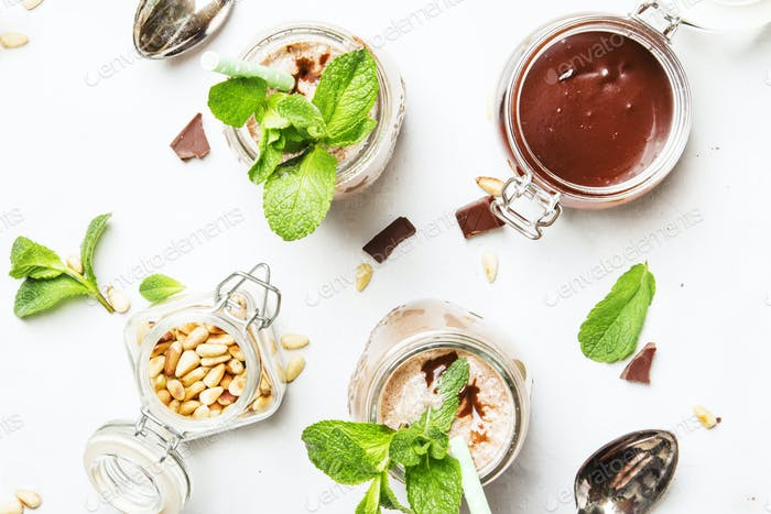 Chocolate-mint milkshake with pine nuts