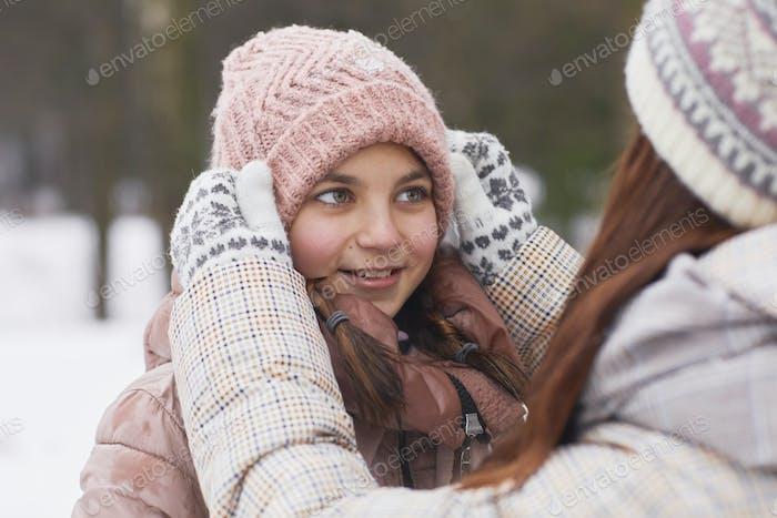 Family Enjoying Winter Outdoors