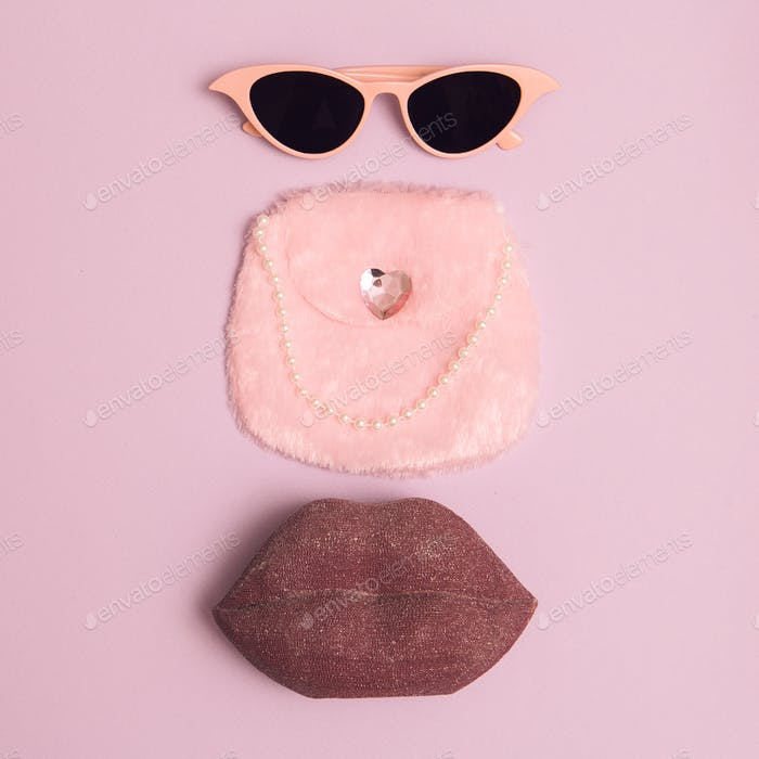 Fashion accessories for Lady Retro Sunglasses, clutch. Pink vintage vibes
