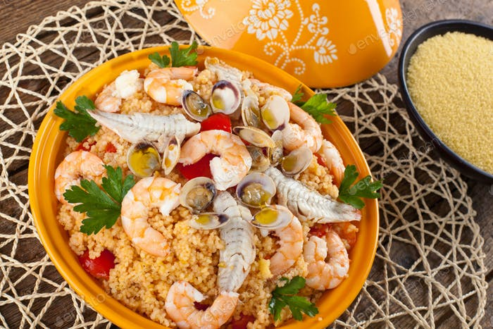 Traditional ethnic food: fish tajine