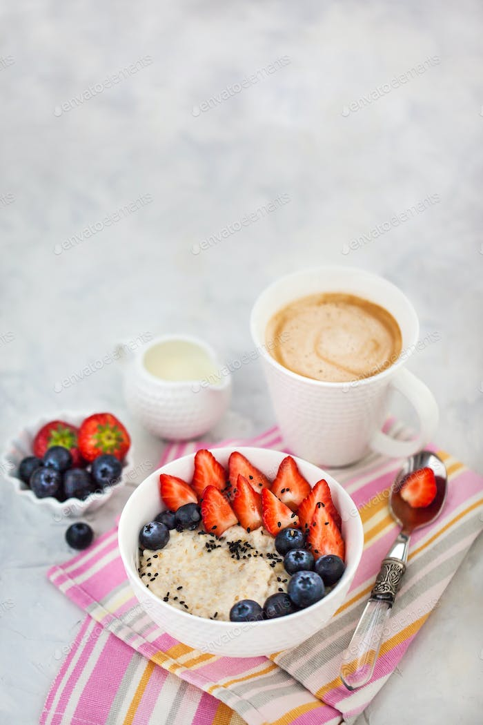 Healthy breakfast with oatmeal porridge