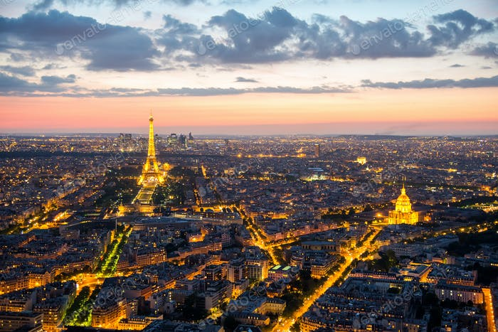 View over Paris after sunset
