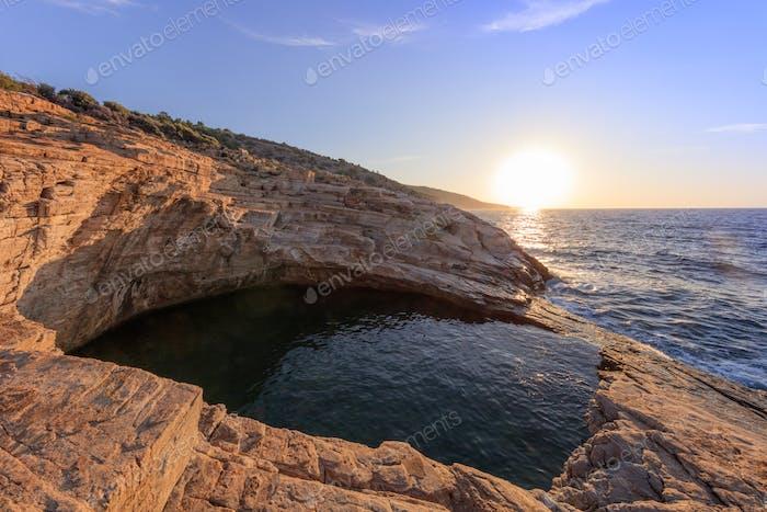 Giola, natural sea water pool. Thassos island