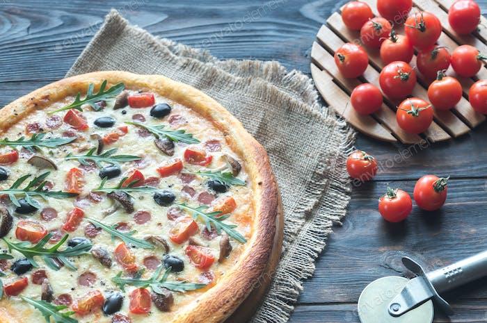 Gekochte Pizza